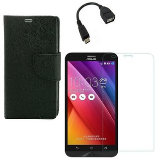 YGS Premium Diary Wallet Case Cover For Asus Zenfone 5 A500CG Edition-Black With Tempered Glass and Micro  With Micro OTG