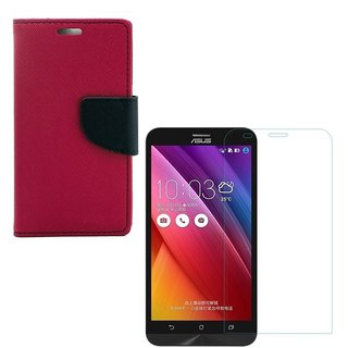 YGS Premium Diary Wallet Case Cover For Asus Zenfone 5 A500CG Edition-Pink With Tempered Glass