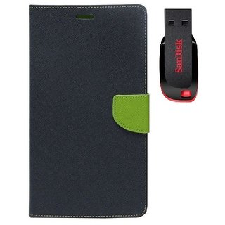 YGS Premium Diary Wallet Mobile Case Cover For  Micromax Canvas Fire 4 A107-Blue With Sandisk Pen Drive 8GB