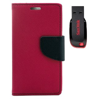 YGS Premium Diary Wallet Case Cover For Sony Xperia Z1-Pink With Sandisk Pen Drive 8GB