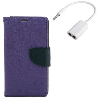 YGS Premium Diary Wallet Mobile Case Cover For  Micromax Canvas Juice 2 AQ5001-Purple With Audio Splitter