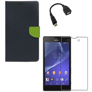 YGS Premium Diary Wallet Case Cover For Sony Xperia Z1-Blue With Tempered Glass and Micro  With Micro OTG