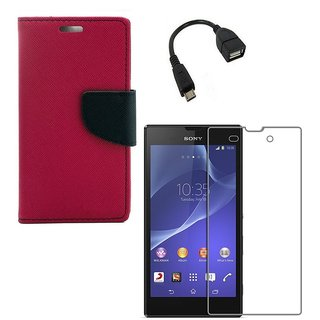 YGS Premium Diary Wallet Case Cover For Sony Xperia Z1-Pink With Tempered Glass and Micro  With Micro OTG