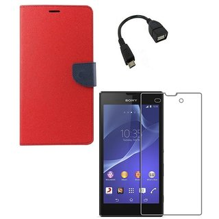 YGS Premium Diary Wallet Case Cover For Sony Xperia Z1-Red With Tempered Glass and Micro  With Micro OTG