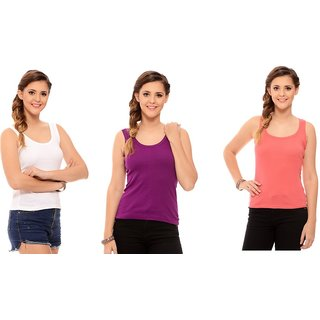 ChileeLife Womens Cross Strap Camisoles Combo - Pack of 3, L Size (White,Maroon,Orange)