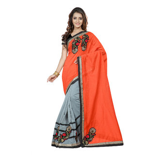 Fabdeal Party Wear Orange Colored Embroidered Cotton Saree/Sari