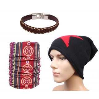 Sushito Balck Star Design Woolen Cap With Bandana  Wrist Band JSMFHCP1488-JSMFHWB1013-JSMFHMA0693