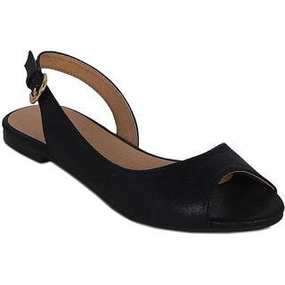 Flora Black Peep Toe Sandal