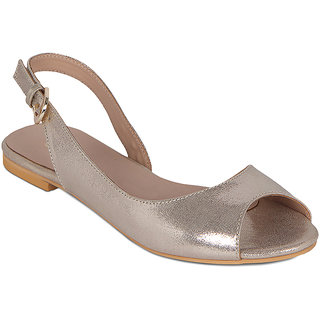 Flora Golden Peep Toe Sandal