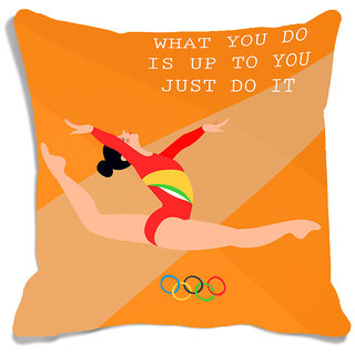 meSleep Orange Quotes Olympics Cushion Cover (16x16)