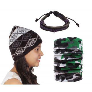 Sushito Fancy Multi Colour Warm Woolen Cap With Bandana  Wrist Band JSMFHCP1561-JSMFHWB0987-JSMFHMA0569