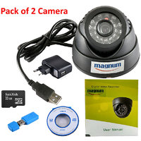 Magnum 24 IR Night Vision Dome CCTV Camera (USB Interface) Inbuilt DVR With Memory Card Slot Recording (32GB SANDISK Memory Card Included) - Pack Of 2