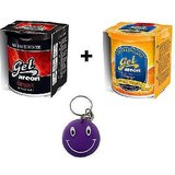 Combo Of Areon Car Air Gel Perfume Freshener Desire&Orange Free Smiley Key Chain