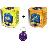 Combo Of Areon Car Air Gel Perfume Freshener Lemon&Orange Free Smiley Key Chain.