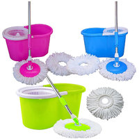 Best Home Pvc Multi Color 1 Mop Set With 2 Microfiber( Color As Per Availability )