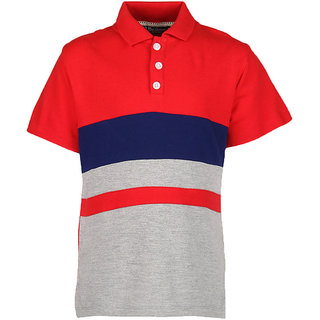 Cool Quotient Boys Red Contrast Yoke Polo TShirt available at ShopClues for Rs.300