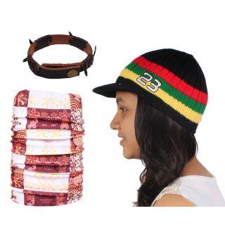 Sushito Classic Multi Colour Woolen Cap With Bandana  Wrist Band JSMFHCP1535-JSMFHWB0993-JSMFHMA0678