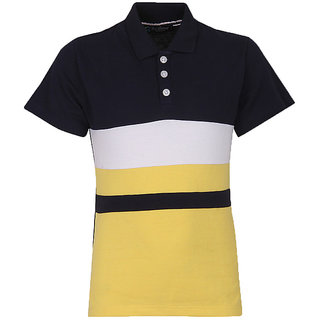 Cool Quotient Boys Navy Contrast Yoke Polo TShirt available at ShopClues for Rs.300