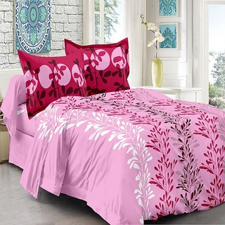 Valtellina Pink  Natural Design Super Soft Cotton Double Bedsheet with 2 CONTRAST Pillow Cover-Best TC-175