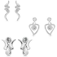 Mahi Eita Collection Combo of Fashion Earrings Studs for Women with Crystal Stones