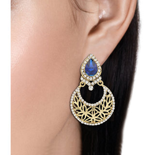 R18Jewels-FashionU Multi,Blue,Gold,Silver Non Plated Chandbali For Women