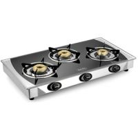 Padmini 3 Burner Gas Stove Cs-3Gta Crystal Black With Auto Ignition