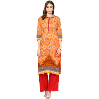 Jaipur Kurti Orange Cotton Round Neck 3/4th Sleeve Embroidered Kurta