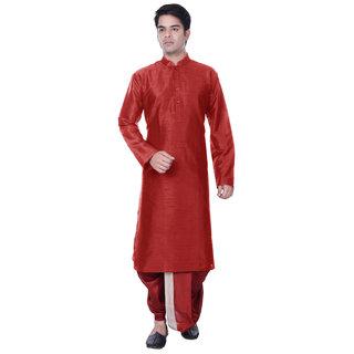 Sanwara Mens Red Kurta Maroon Dhoti Set