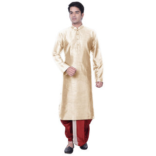 Sanwara Mens White Kurta Maroon Dhoti Set