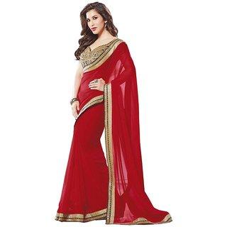 Hanuman Fabrics Red Georgette Designer saree with Blouse for elite look