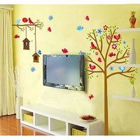 Walltola Floral Wall Decal - Sweet Birds And Nest Trees (180 X 130cm)