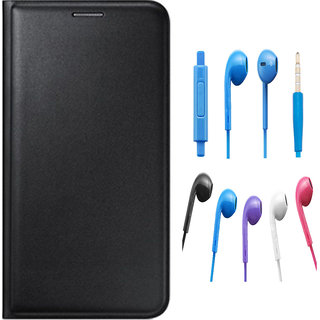Premium Black Leather Flip Cover for Lava A71 with Noise Cancellation Earpods with Mic