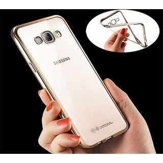 Samsung Galaxy J5 Gold Premium Back Cover (Gold and Transparent)