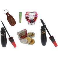 ADS 1595 Eyeliner, Mascara, Lipgloss Palette, Lip Gloss, Compact Powder with Ashra Keychain