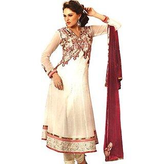D-e-B Classy White Pure Georgette Anarkali Suit