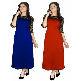 Klick2Style Pack of 2 Red And Blue Plain A Line Dress For Women