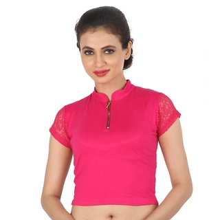 Biyu Pink Zipped Collar Style Back Laced Strechable Hosiery Blouse  Crop Top
