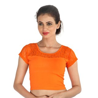 Biyu Orange Back Zipped  Laced Shimmer Readymade Strechable Hosiery Blouse  Crop Top