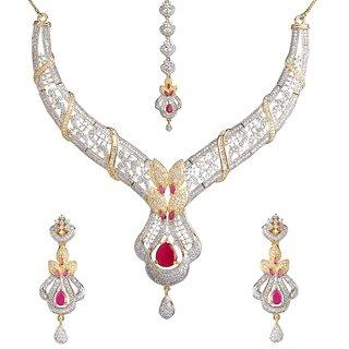 Biyu Bollywood Style Princess Cute American Diamond Gold Plated Necklace Set