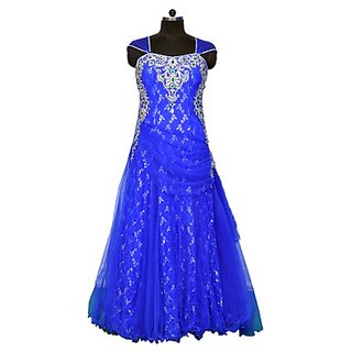 D-e-B Royal Blue Netted Gown With Zircon, Sequence And Stone Work On Neck