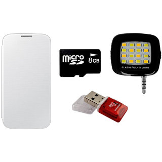 MuditMobi Flip Cover With Selfie Flash Light 8 GB Memory Card  Card Reader For Micromax Canvas Fun A76  White available at ShopClues for Rs.675