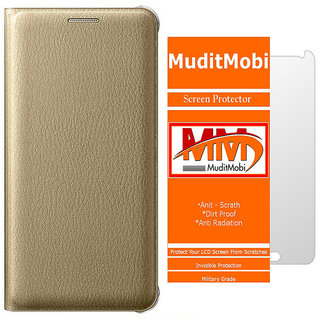 MuditMobi Premium Leather Flip Case Cover With Screen Protector Guard For- Lenovo Vibe K4 Note - Golden