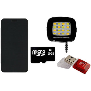 MuditMobi Flip Cover With Selfie Flash Light 8 GB Memory Card  Card Reader For Karbonn Smart A50  Black available at ShopClues for Rs.675