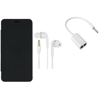 MuditMobi Quality Flip Case Cover With Earphone, Audio Jack For- Intex Aqua Trend - Black