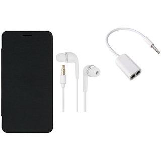 MuditMobi Quality Flip Case Cover With Earphone, Audio Jack For- Intex Aqua Y2 - Black