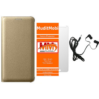 MuditMobi Premium Leather Flip Case Cover With Screen Protector and Earphone For- Gionee P5L -Golden