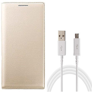 MuditMobi Leather Flip Case Cover With USB Data Cable For-Lava A72 -Golden