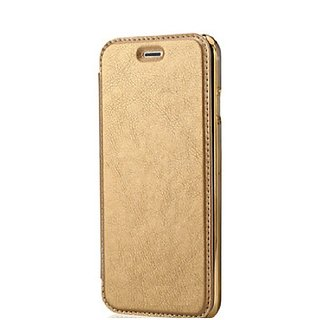 MuditMobi Premium Leather Wallet With Soft TPU TransParent Back Case Flip Cover For- Vivo Y51 -Golden