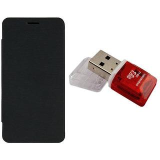MuditMobi Premium Quality Flip Case Cover With Card Reader For- Panasonic P65 Flash - Black