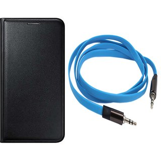 MuditMobi Leather Flip Case Cover With Aux Cable For-Lava X46 -Black